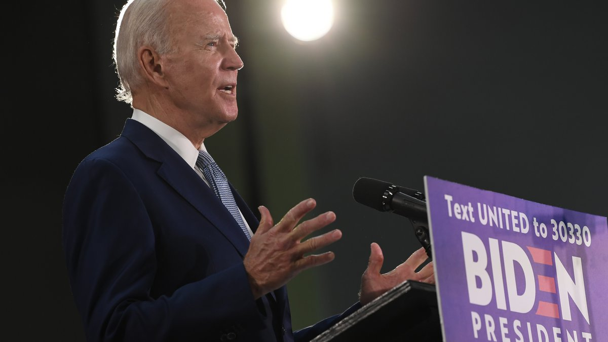 Democratic presidential candidate, former Vice President Joe Biden speaks during an event in...