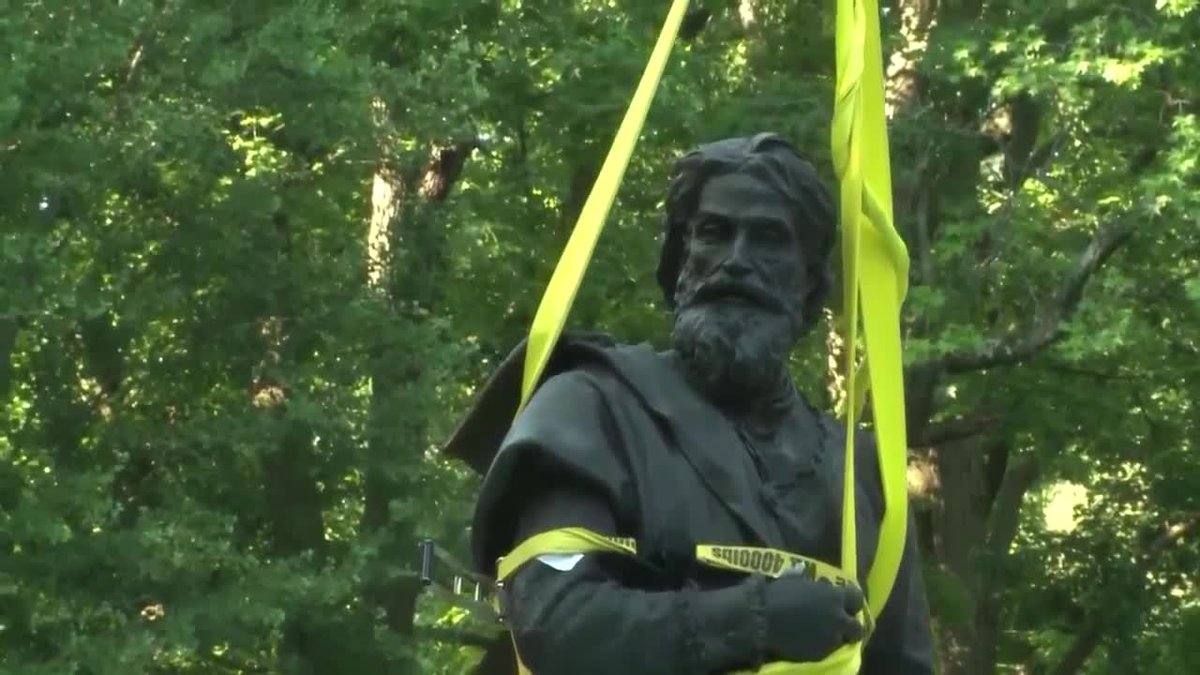 The Christopher Columbus statue was removed from Tower Grove Park in St. Louis, Mo. (Source:...