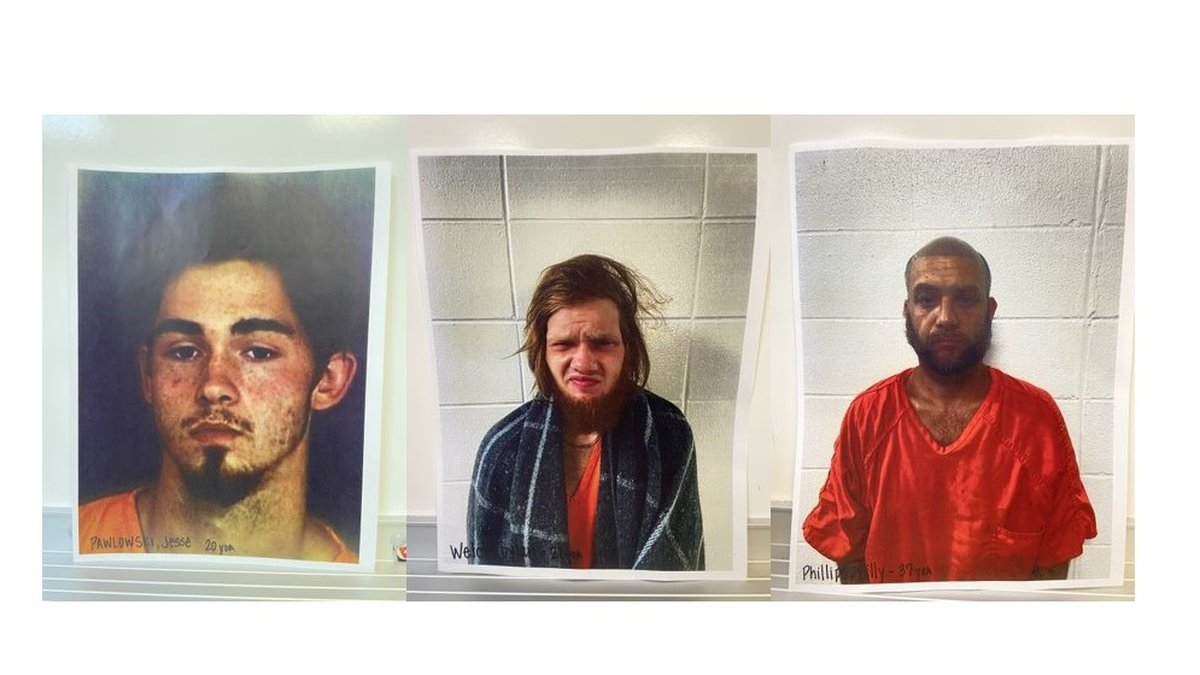 Jesse Pawlowski, Dylan Welch and Billy Phillips (Fuente: Cherokee County Jail)