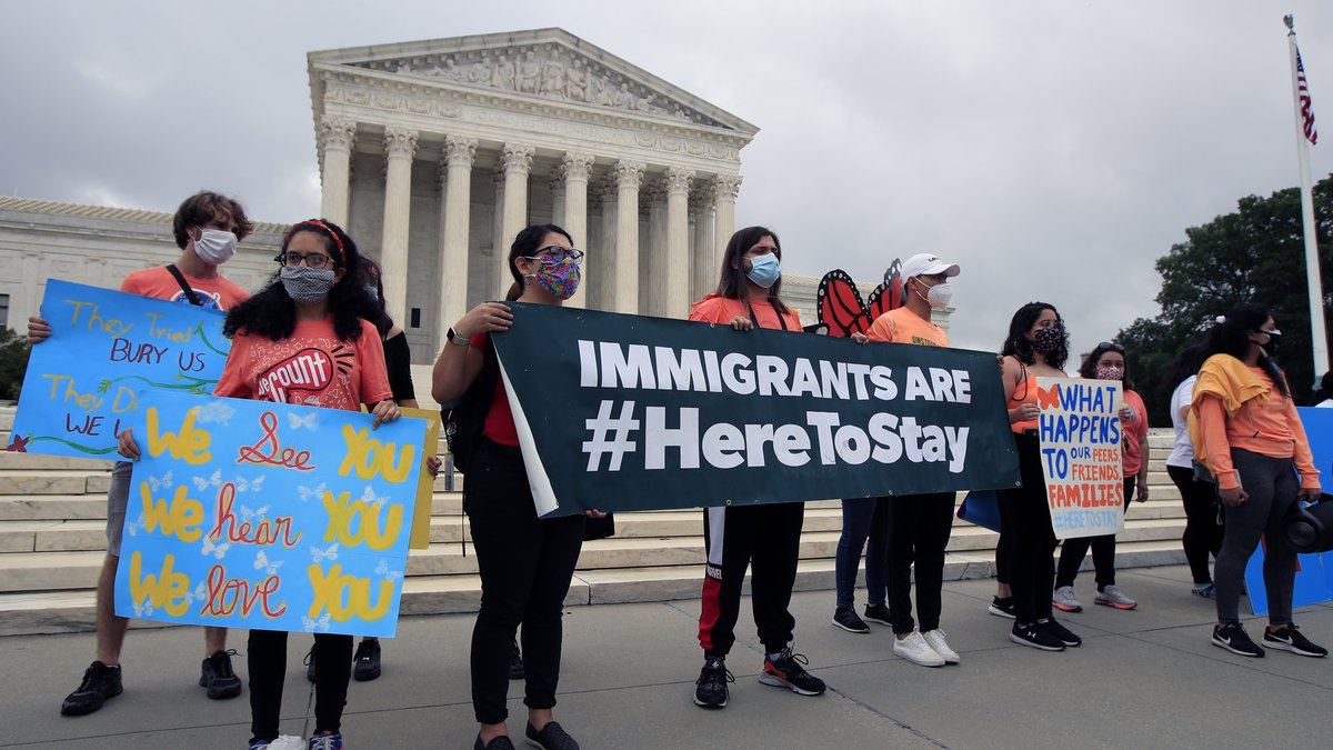 Deferred Action for Childhood Arrivals (DACA) students celebrate in front of the Supreme Court...